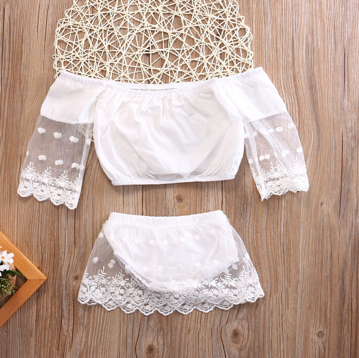 Sweet Newborn Baby Girl Clothing Set 2pcs Tops Long Sleeve Bottoms Cute White Outfits 2pcs Baby Girls Clothes 0-24M 2pcs set newborn floral baby girl clothes 2017 summer sleeveless cotton ruffles romper baby bodysuit headband outfits sunsuit