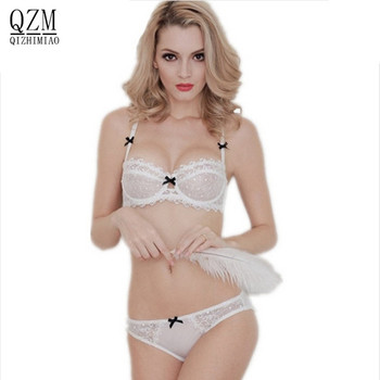 QIZHIMIAO Newest Very Sexy Women Half Cup Lace Bra + Briefs Plus Size Ultra-thin Sexy Plunge Bra Sets A B C D Cup Free Shipping
