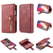 DG.MING For iPhone X XR XS Max 8 7 6 Plus Retro Genuine Leather Flip Magnetic 2 in 1 Detachable Wallet Stand Case Cover detachable 2 in 1 magnetic absorbed oil buffed leather wallet case for iphone 6 plus 6s plus red