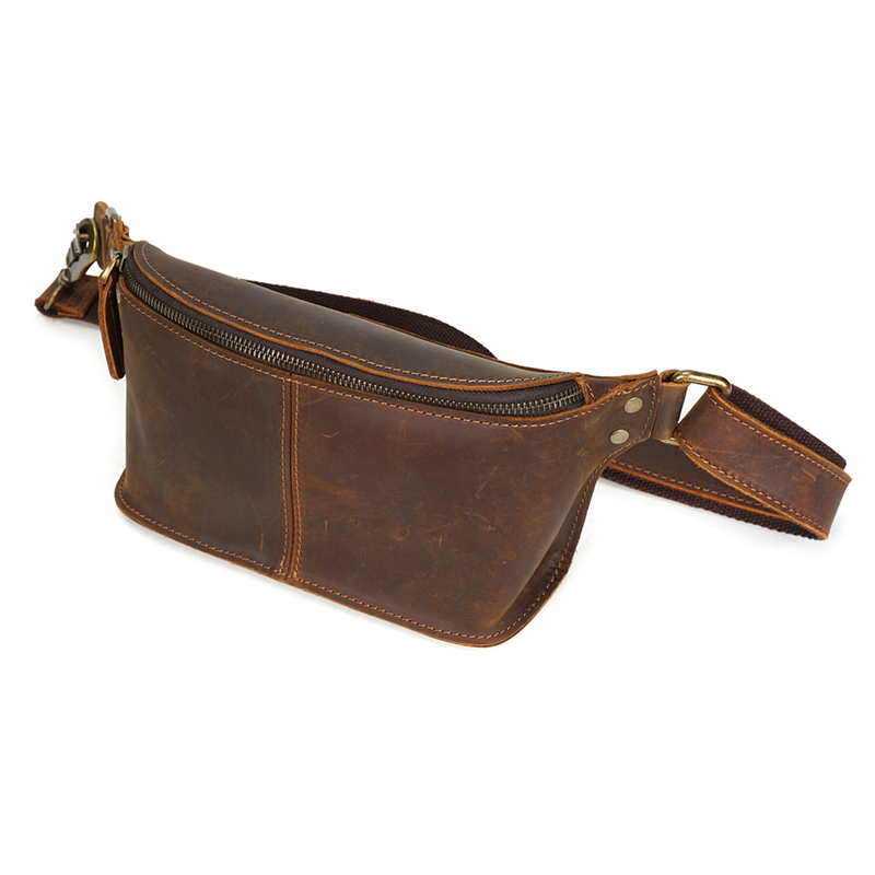 Для мужчин из натуральной кожи поясная сумка Деньги кошелек Crossbody груди многофункциональный мужской поясной ремень сумки - 3