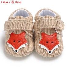 Вязаная Обувь для маленьких девочек с изображением лисы; милая обувь для новорожденных с рисунком животных; хлопковая обувь с мягкой подошвой для первых шагов; обувь для мальчиков от 0 до 18 месяцев