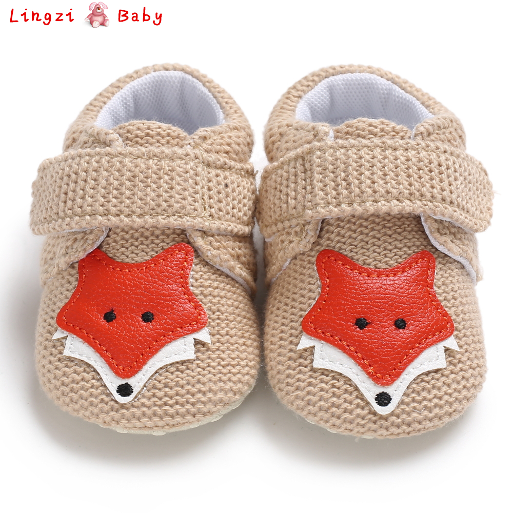 Knit Fox Baby Girl Shoes Animal Cartoon Cute Newborn Baby Shoes Cotton Soft Bottom First Walkers 0-18M Boys Shoes