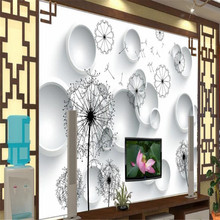 Living room 3D dandelion TV background wall professional production mural wallpaper custom poster photo wall цена 2017