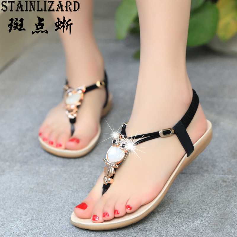 2017 Hot Sale Summer Bohemia Women Sandals Crystal Comfortable Flat Woman Shoes New Fashion Casual Beach Sandals BS143