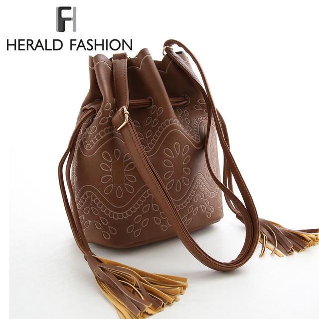 Herald Fashion Suede Leather Drawstring Bucket Bags for Women Vintage Small Mini Cutout Women Messenger Bag Fringe Tassel Bag