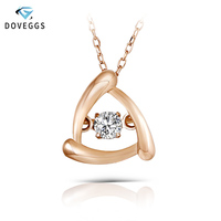DovEggs 0.1carat Diamond Pendant Necklace 10K Rose Gold Diamond Dancing Setting Link Chain Necklace For Women Statement Jewelry