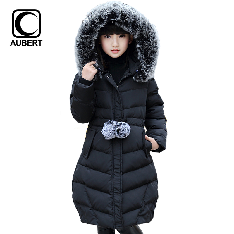 2016 New Fashion Girls Warm Down Jacket Coat Kids Fur Collar Hooded Long Parkas Children Cotton Padded Thicken Warm Outerwear boys winter jacket cotton padded fur collar hooded long kids outerwear coat thicken warm boy winter coat children clothing