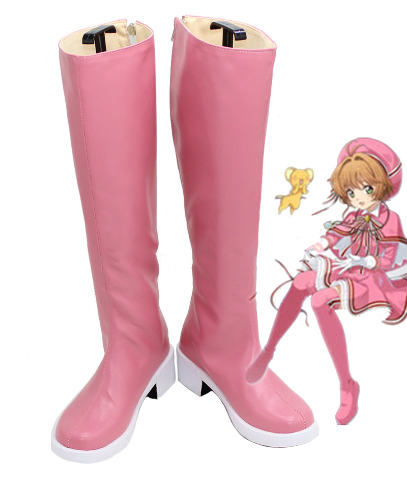 New Cardcaptor Sakura Clear Card Cosplay Shoes Knee Length PU Leather Cosplay Boots Pink High Heels