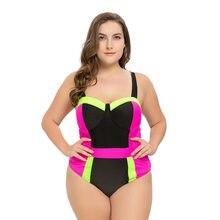 053127bd924 One piece swimsuit Plus Size Swimwear Women Bandage Cross Bikinis Set Fat  Swimsuit Ladies Sexy patchwork Female Big Size Biquini