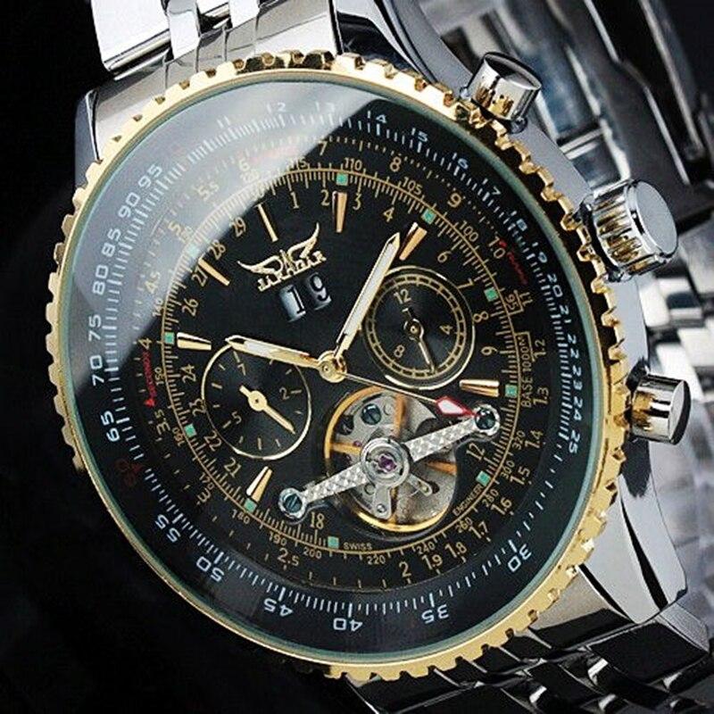 Mens Watches Top Brand Luxury JARAGAR Men Military Sport Wristwatch Automatic Mechanical Tourbillon Watch relogio masculino  機械 式 腕時計 スケルトン