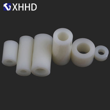 цены M3 M4 M5 White Round Nylon threadless Plastic Spacer ABS Hollow Standoff Washer Non-Threaded PCB Board Screw Bolt
