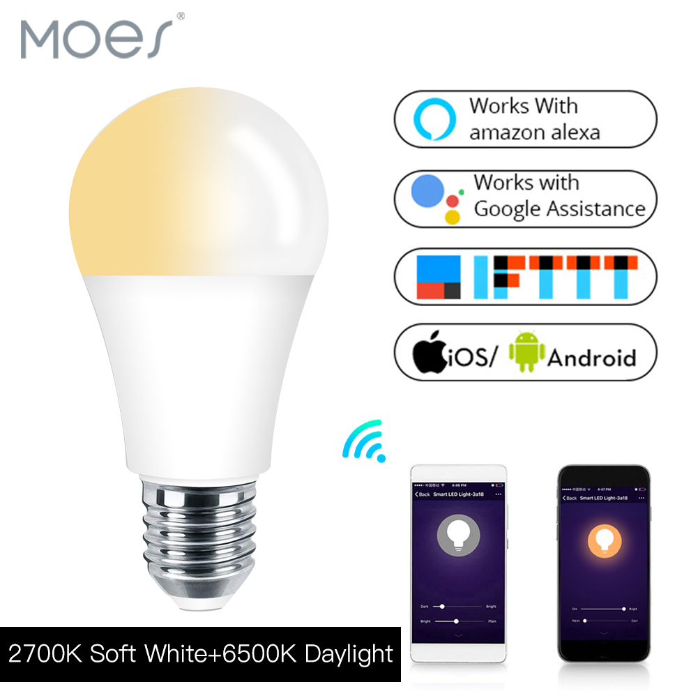 Works With Alexa Echo Google E27 E26 7W Warm Cool White Smart Life/Tuya APP Remote Control  WiFi Smart Light Bulb LED Lamp