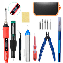 220V 80W LCD Adjustable Temperature Soldering station Electric Soldering Iron kit 5 Pcs Welding Tip Solder wire Repair Tool newacalox anti static welding soldering solder iron tip cleaner cleaning steel wire with stand set repair tool