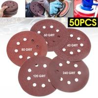 50Pcs Set 5 8 Hole Flocking Sandpaper Sanding Discs Red 40 60 80 120 240 Mixed
