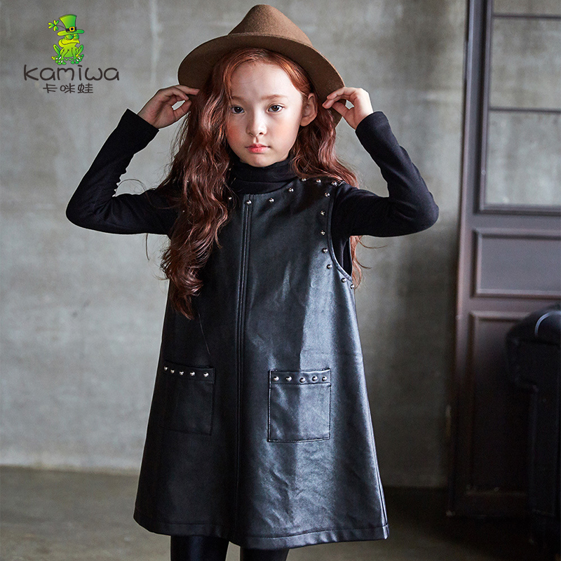 girl outerwear for 3-12 years faux leather material girl coats black long sleeves autumn spring kid outerwear