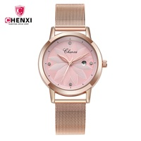 Elegant Fashion Pink Rose Gold Women Watches CHENXI Casual Lady Watch Waterproof Minimalism Rhinestone Dress Female