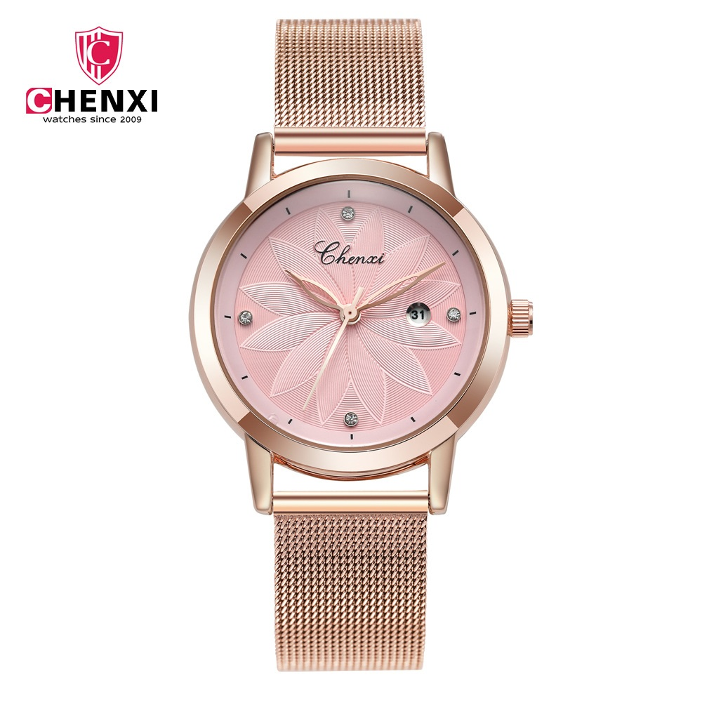 Elegante moda Rosa oro rosa mujeres relojes chenxi casual señora reloj impermeable minimalismo rhinestone vestido reloj
