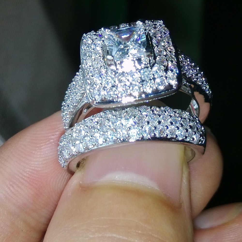 Choucong Wieck Nizza Schmuck 134 stücke Glänzende AAA CZ Zirkonia 14KT Weiß Gold Gefüllt Hochzeit Ring Set Size5-11 Freies verschiffen geschenk