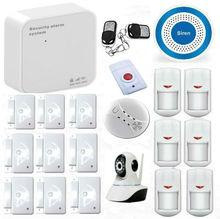 Wireless 433 MHz Inteligente WIFI GSM de Alarma Ventana de La Puerta de Alarma Antirrobo Sistemas de Seguridad Cámara Casera IP Inalámbrica Botón de pánico