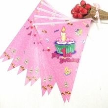 2.5m/set My 1st Birthday Party Supplies Pink Paper Banner Flag Kids Baby Shower Fovers Girls