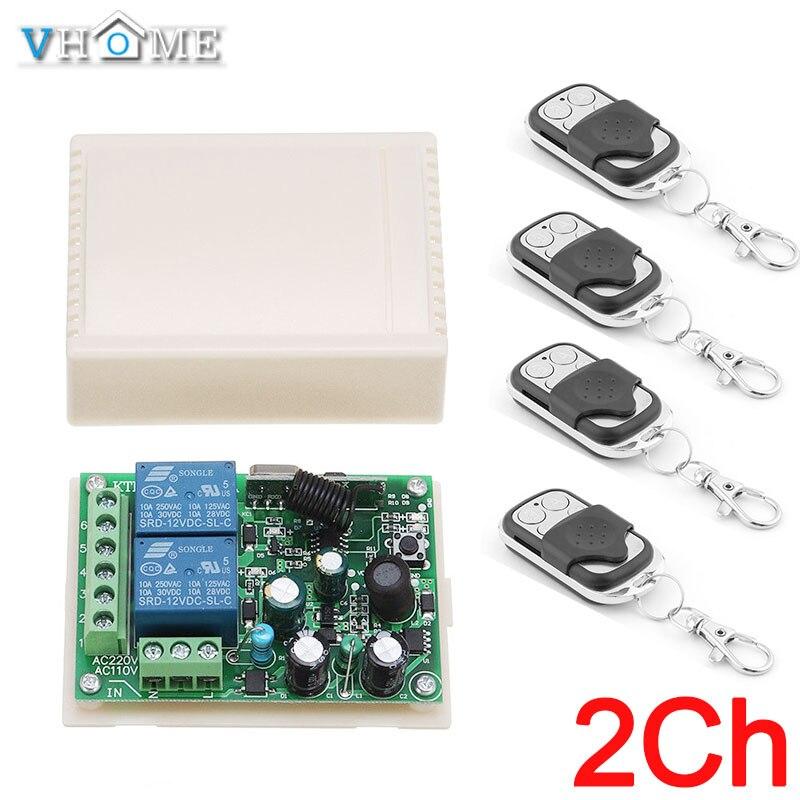 Portão/Porta de Controle do Interruptor de Controle Remoto Sem Fio, 2200 w AC85V-250V 2CH Relé Receiver & Transmissor RF Para Vhome