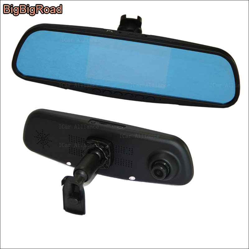 BigBigRoad For honda fit / Toyota 86 / For Subaru BRZ Dual Lens Car Mirror Camera DVR Blue Screen Video Recorder Dash Cam bigbigroad for vw tiguan routan car dvr blue screen dual lens rearview mirror video recorder 5 inch car black box night vision