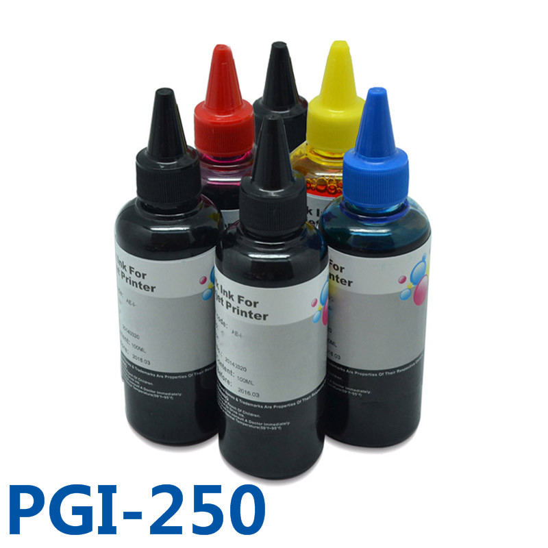 6x100ml PGI250 CLI251 Dye Ink Refill Kit Bulk Printer Ink For Canon PIXMA MG6320 MG7120 MG7520 IP8720 Printers PBK B C M Y GY