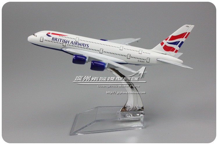 YJ 1/450 Scale Plane Model Toys British Airways Airbus A380 16cm Length Diecast Metal Airplane Model Toy For Gift/Kids