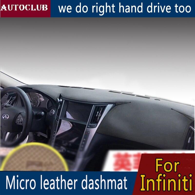 For Infiniti Q50 Q60 Q70 Qx70 Qx80 Qx30 Qx60 Jx35 Ex25 Fx35 M37 Leather Dashmat Dashboard Cover Pad Dash Mat Sun Shade Carpet