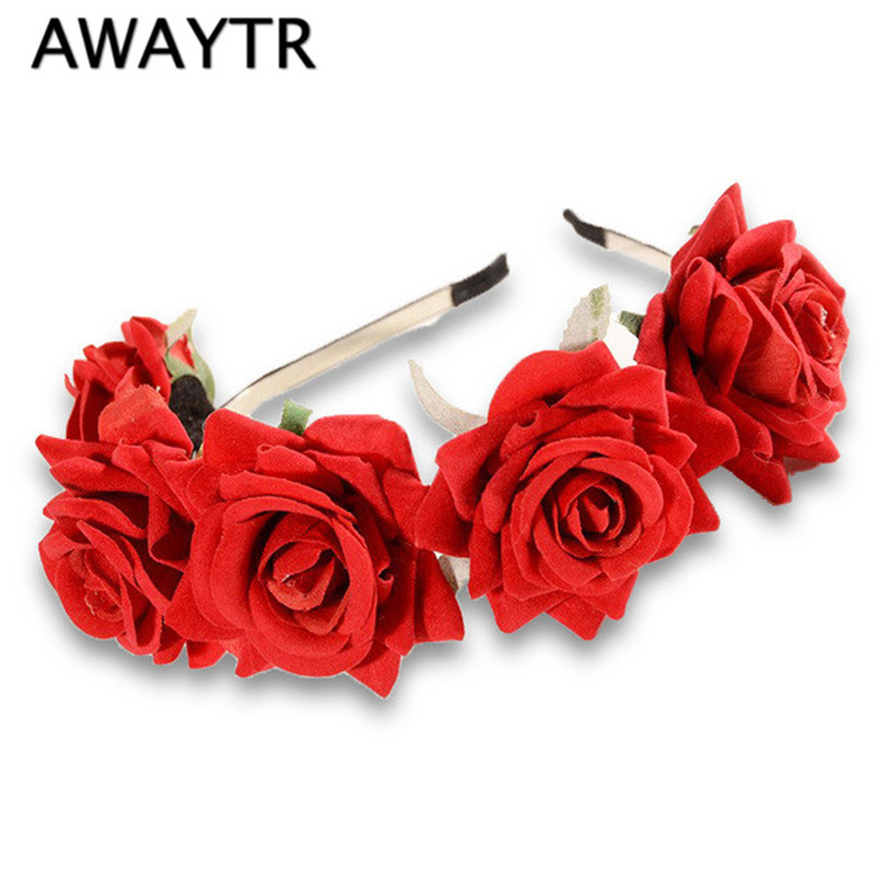 Rose Flower Headband Festival 2019 Hår Ornamenter Bryllup Blomster Bride Blomster Crown Party Prom Decor Prinsesse Krans Headpiece