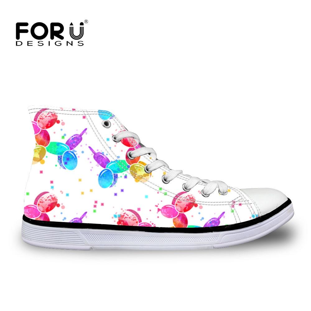 FORUDESIGNS Balloon Dogs Print Women Vulcanize Shoes Canvas Sneakers Femlae High top Casual Basket Shoes Walking Sapato Feminino