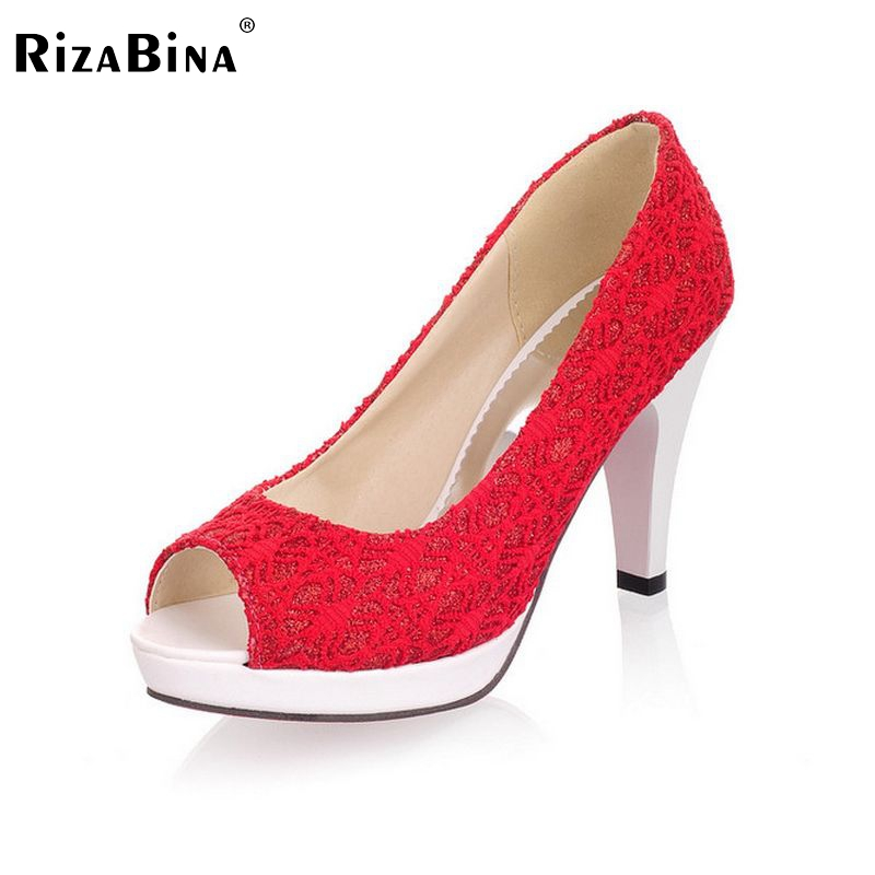 RizaBina Ladies Stiletto High Heels Peep Toe Shoes Dress Shoes Women Lace Sexy Casual Slip-On Platform Pumps Size 31-43 PA00382 2017 shoes women med heels tassel slip on women pumps solid round toe high quality loafers preppy style lady casual shoes 17