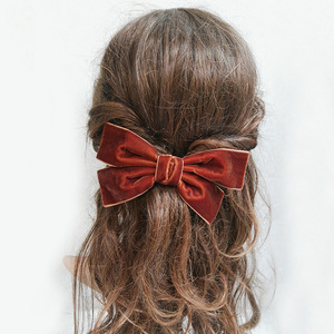 Mixed Colors Handmade 6 inches Large Velvet Hair Bows Barrettes for Women Fashion Hair Clips Wholesale Hair Accessories