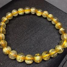 Certificate Natural Gold Rutilated Quartz Titanium Crystal Woman Man Bracelet Gemstone Round Beads 7mm Jewelry Stone AAAAA