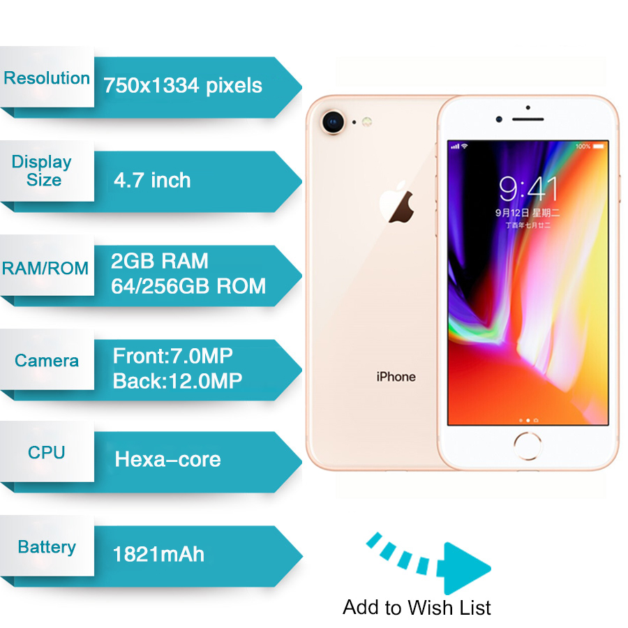 Original Apple iphone 8 Hexa Core RAM 2GB ROM 64GB 4.7 inch 12MP Unlocked 1821mAh iOS 11 LTE Fingerp
