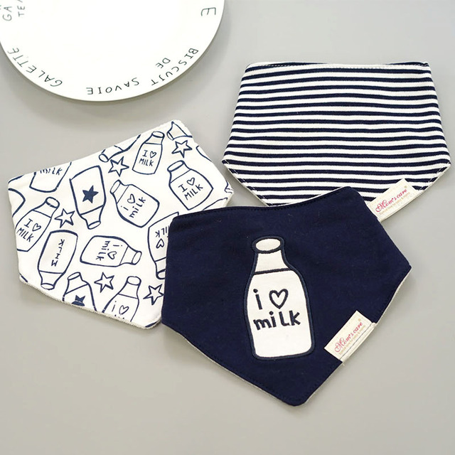 [Momscare] 3 Pcs/lot Fashion Newborn Baby Bibs Waterproof Kids Girls And Boys Cotton Triangle Children Feeding Accessories