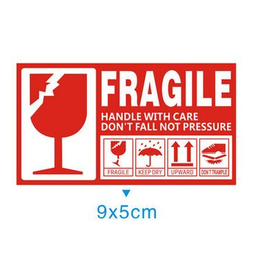 ᑐ5000pcs Fragile Handle Handle With Care 9x5cm Self