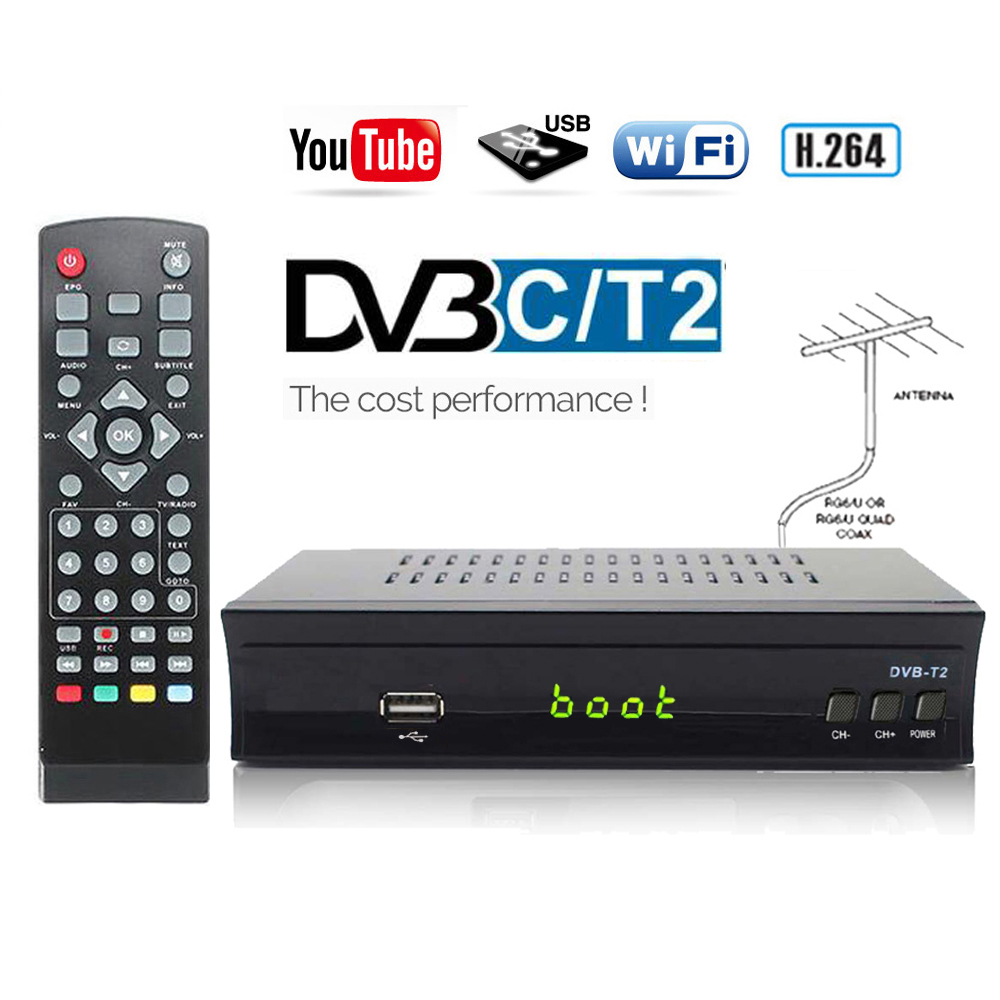 KOQIT HD DVB-C DVB-T2 Receiver Wifi Digital TV Box DVBT2 DVB T2 Tuner Dual USB DVBC