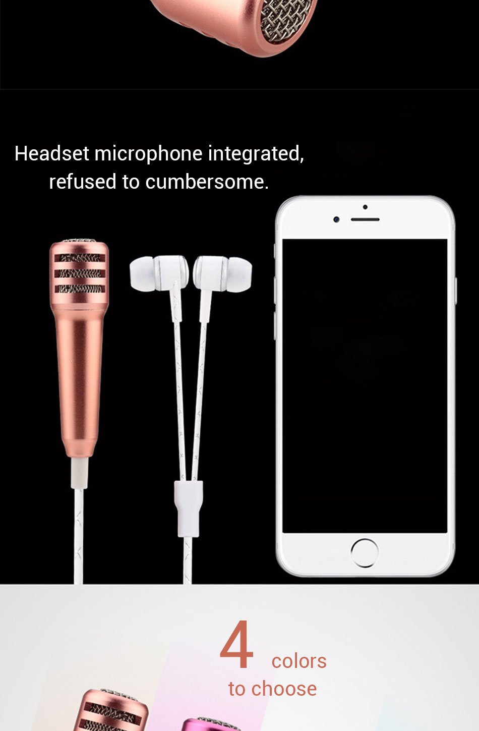 2017 Protable K Song Mini Microphone With Headphone For Kids Gift, Universal KTV Karaoke Mobile Phone Computer Microphone Toy P4