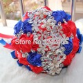 Top Quality Hand Rhinestone Crown Royal Blue Red Luxurious Bride Holding Flowers Ribbon Flowers Ball Noble Wedding Bouquet SH22