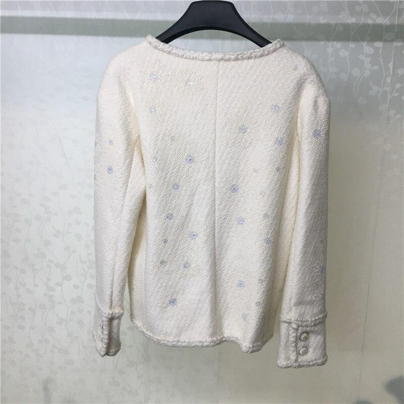 Blanc Manches Veste Pour Diamant 2018 Office Élégant Longues Outwear Mode O Femmes Lady cou À ZZrzwqB