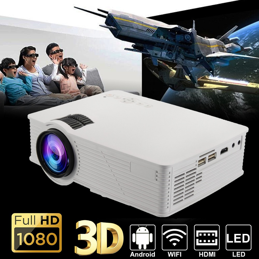 7000 Lumens LED WIFI Projector 1080P HD Android4.4 3D Multimedia Beamer for Theater Home Cinema Presentation Video Game TV Movie wzatco 5500lumen android smart wifi 1080p full hd led lcd 3d video dvbt tv projector portable multimedia home cinema beamer
