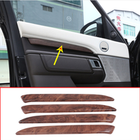 4pcs Rose Wood Grain ABS For Land Rover Discovery 5 LR5 L462 2017 19 Car Interior Door Decoration Protector Cover Trim Parts