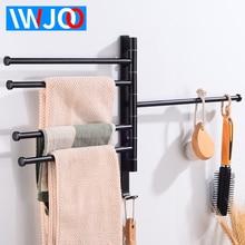 цены 5 Towel Bar with Hooks Aluminum Three Layer Towel Rack Hanging Holder Bathroom Towel Holder Black Wall Mounted Bathroom Shelf