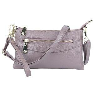 Image 2 - Luxury Zipper Blue/Red/Black/Gray Clutch Women Messenger Handbags Genuine Leather Women's Shoulder Purse Fashion Small Bags