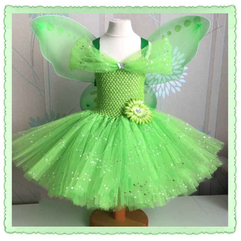 POSH DREAM Sparkly Tinker Bell Kids Girls Tutu Dress Fairy Tinker Bell Girls Cosplay Dress Handmade Cosplay Girls Costume Party ретро стиль ренессанс женский костюм средневековые дева хэллоуин фантазии cosplay over dress