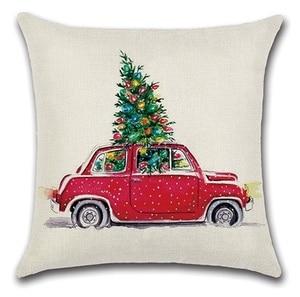 Image 5 - 2 قطعة الأحمر الأصفر سيارة حافلة تحمل عيد الميلاد شجرة وسادة غطاء وسادة حالة المنزل الزخرفية غطاء الوسادة