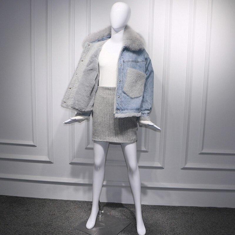 2019 coréen grandes poches réel fourrure de renard col Denim vestes femmes mode hiver chaud polaire coton court Jeans manteaux Streetwear - 2