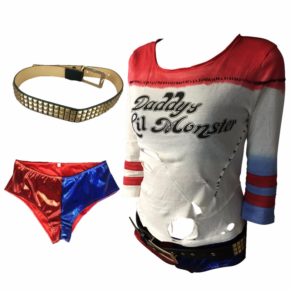 Cosplay Movie Suicide Squad Harley Quinn T-shirt Pants Blet Full Set Halloween Joker Costume New
