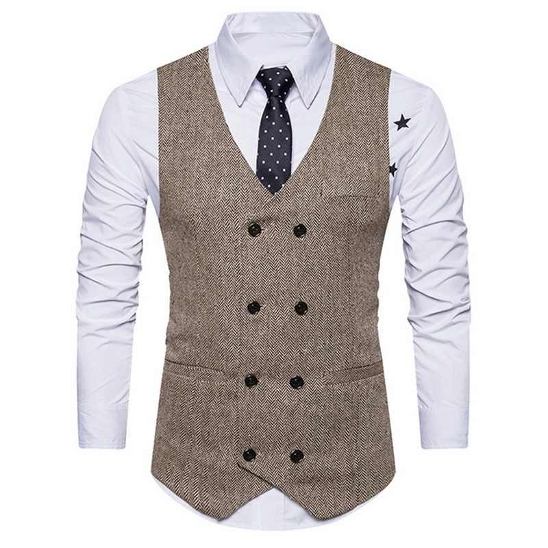 Men Double Breasted Suit Vests Gentlemen Casual Business Sleeveless Waistcoat Vintage Formal Blazers Vest For Wedding Party